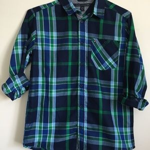 Boys Blue and Green Tommy Hilfiger Button Down